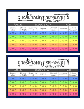 Test Taking Strategy Punch or Stamp Card