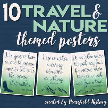 Travel Adventure Nature Inspiration Themed Posters Classroom Decor