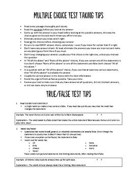 Test Taking Tips