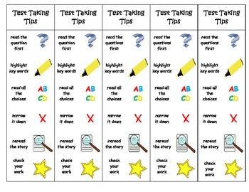 Test Taking Tips Bookmark