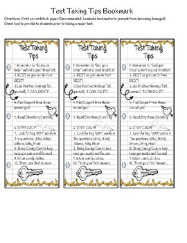 Test Taking Tips Bookmark