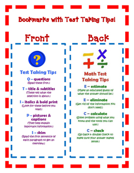 Test-Taking Tips Bookmarks