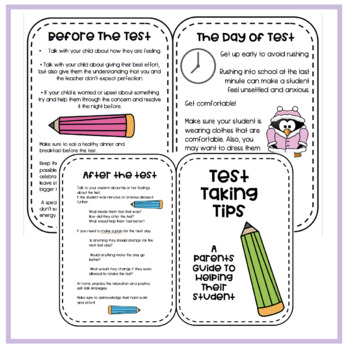 Test Taking Tips- Brochure For Parents