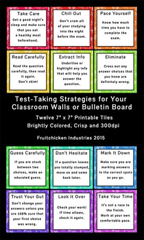 Test Taking Tips Printable: 12 Tips to Success -- All Grades and Levels