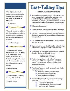 Test Taking Tips Printable Handout