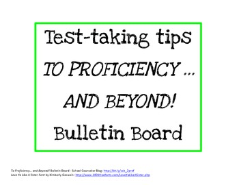 Test Taking Tips Printable for To Proficiency... And Beyond! Bulletin Board