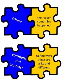 Test Taking Vocabulary Puzzle Pieces (Color)