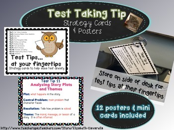 Test Taking Vocabulary and more -Posters and Strategy Cards to ease test anxiety