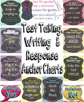 Test Taking, Writing, and Response Anchor Charts