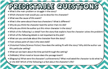 Test Talk Genre and Predictable Questions Posters Grades 3-6 Common Core Aligned