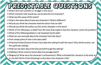 Test Talk Genre and Predictable Questions Posters Grades 3-6 Common Core Aligned