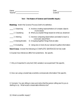 Test - The Nature of Science and Scientific Method