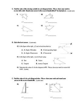 Geometry Test (2 Versions) - Trigonometry