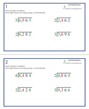 Test Tube Division Problems (Answer Key Included)