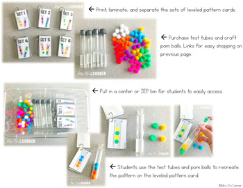 Test Tube Pattern Cards - Math Center ( 6 Levels of Colorful Patterns! )