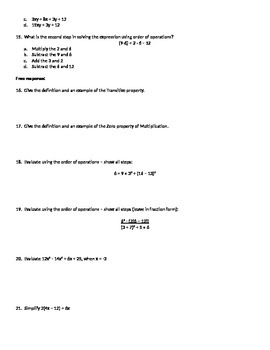 Test - Variable Expressions, Properties, Order of operations, Simplify