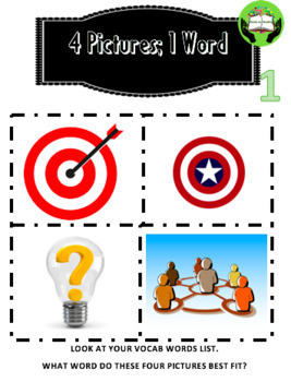 Test Prep Vocabulary: Academic Language with 4 pictures; 1 word- Grades 5-10