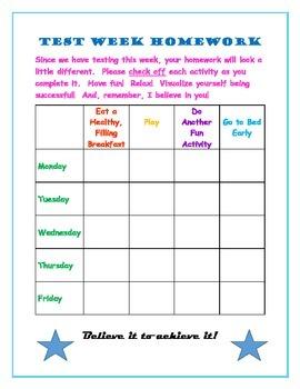 Test Week Homework