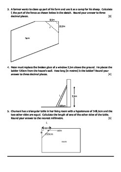 Test / Work Sheet: Pythagoras