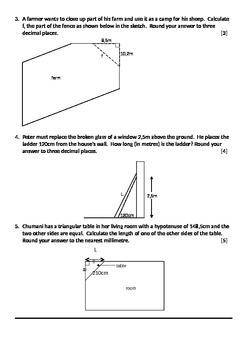 Test / Work Sheet: Pythagoras