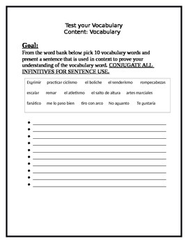 Test Your Vocabulary - Sentence Building FOREIGN LANGUAGE