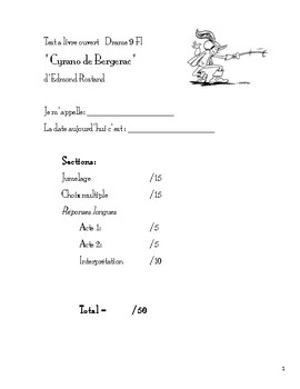 Test à livre ouvert - Cyrano de Bergerac