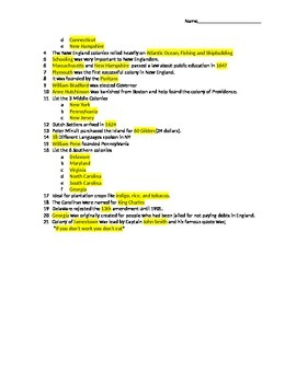 Test and Answer key for 13 Colonies Prezi