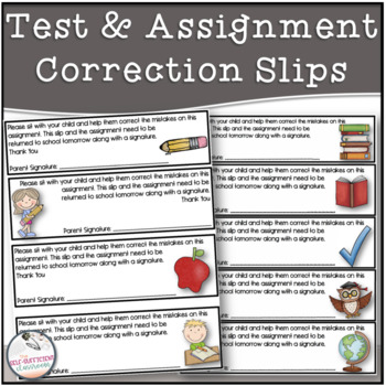 Test and Assignment Correction Slips