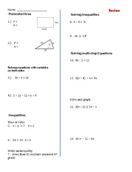 Test and Review Solving Inequalities