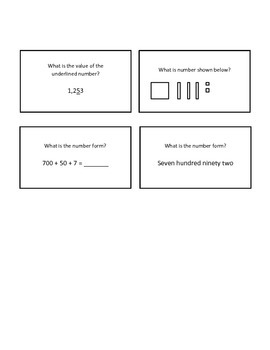 Place Value: Quiz Quiz Trade or Scoot Cards - Sample questions