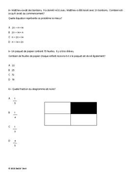 Test diagnostique de mathématiques pour la 5ème année (Diagnostic Math Test Gr5)