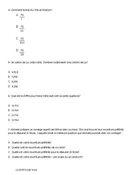 Test diagnostique de mathématiques pour la 6ème année (Diagnostic Math Test Gr6)
