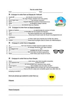 Test du verbe Faire