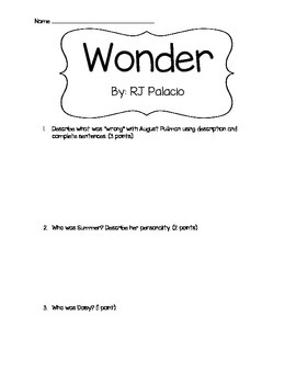 Test for Wonder by RJ Palacio