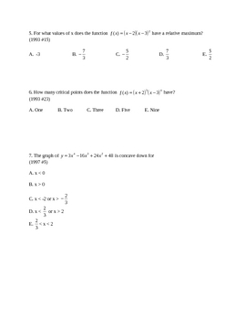 Test  for extrema, inc/dec intervals and concavity