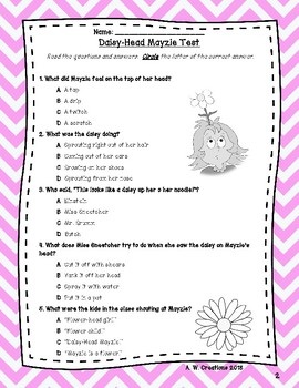 Test for the Book Daisy-Head Mayzie by Dr. Seuss