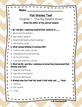 Test for the Book Flat Stanley by Jeff Brown