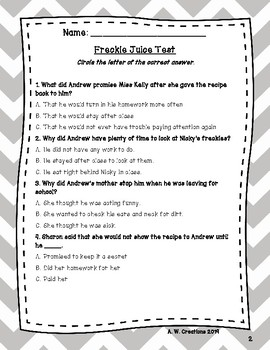 Test for the Book Freckle Juice by Judy Blume