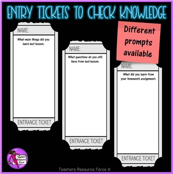 Entry Tickets for Teens: check prior knowledge