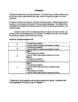 Homework Explanation/Rubric