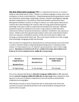Speech Therapy-Test of Narrative Language Evaluation Report Template (TNL)