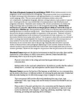 Test of Pragmatic Language Evaluation Report Template (TOPL-2)