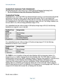 Speech Therapy- Test of Problem Solving-3rd Edition Report Template (TOPS-3)