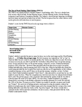 Speech Therapy-Test of Word Finding Evaluation Report Template (TWF)