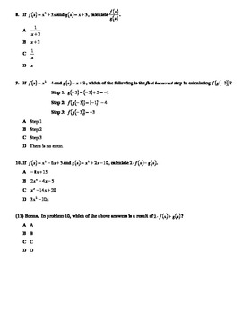 Test on Functions: Basic Operations, Composite, Inverse