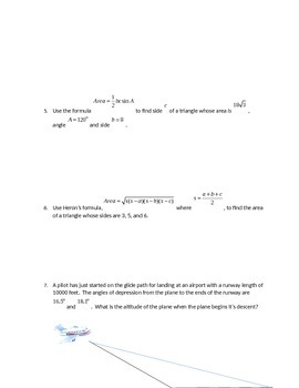 Test on Law of Sines and Cosines and Area of triangles