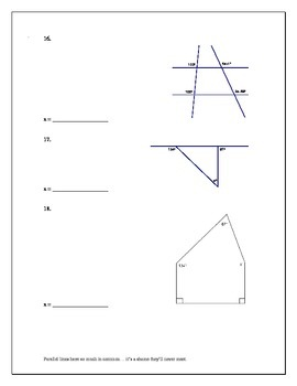 Test on Parallel Lines (including fill in the blank proofs)