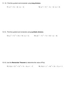 Test on Polynomials