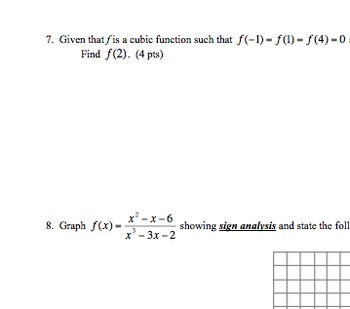 Test on Polynomials & Rational Functions