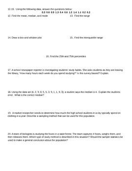 Test on Probability - EDITABLE